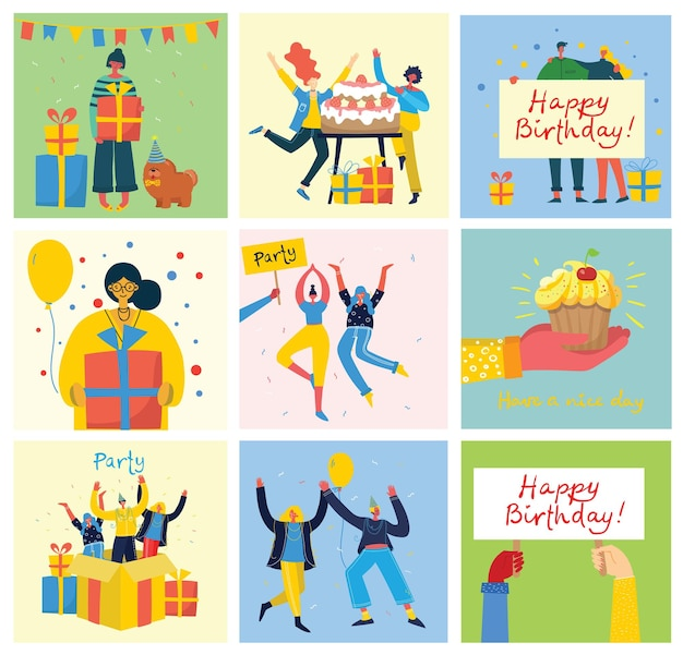 Ilustração de cartões de fundo de festa