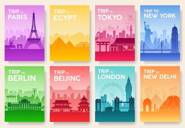 Ilustração de cartões de informações de viagens
