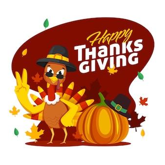 Ilustração de cartoon turquia pássaro com chapéu de peregrino, abóbora e folhas de outono em fundo vermelho e branco escuro para a celebração de ação de graças feliz.