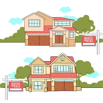 Ilustração de casa à venda