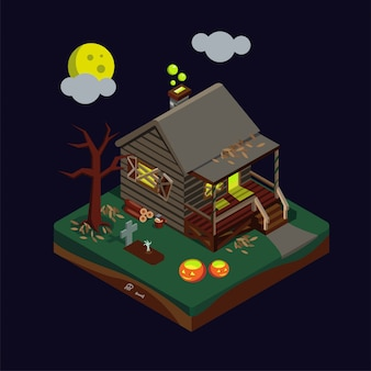 Ilustração de casa assombrada isométrica de halloween
