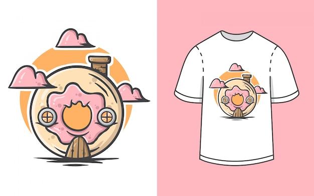 Ilustração de casa bonito donut para design de camiseta