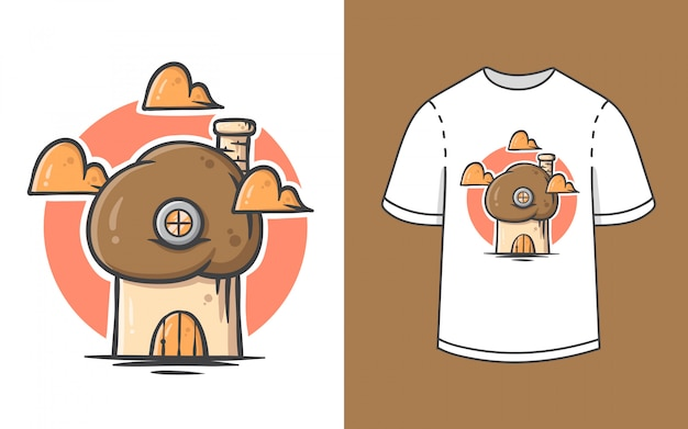 Ilustração de casa cogumelo bonito para design de camiseta