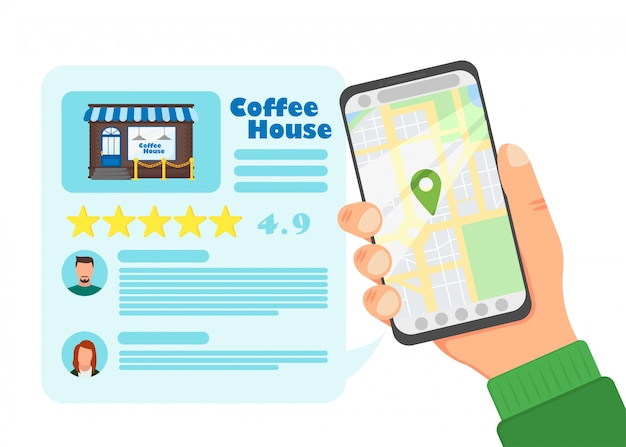 Ilustração de casa de café de avaliação em design plano, vetor