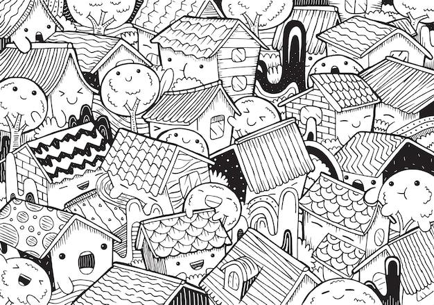 Ilustração de casa de cidade em estilo cartoon