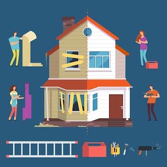 Ilustração de casa de conserto e reforma