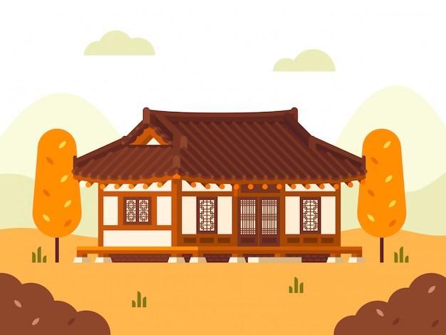 Ilustração de casa de hanok. estação do outono.
