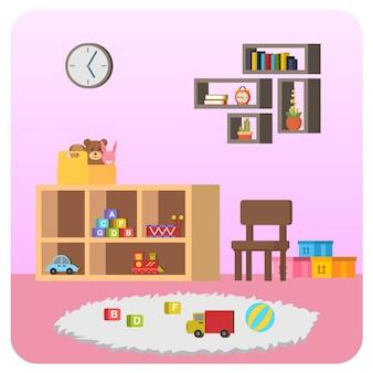 Ilustração de casa de quarto de criança interna