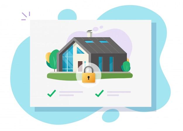 Ilustração de casa e segurança em casa