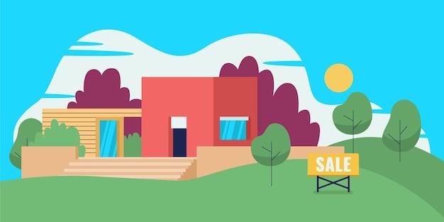 Ilustração de casa moderna à venda