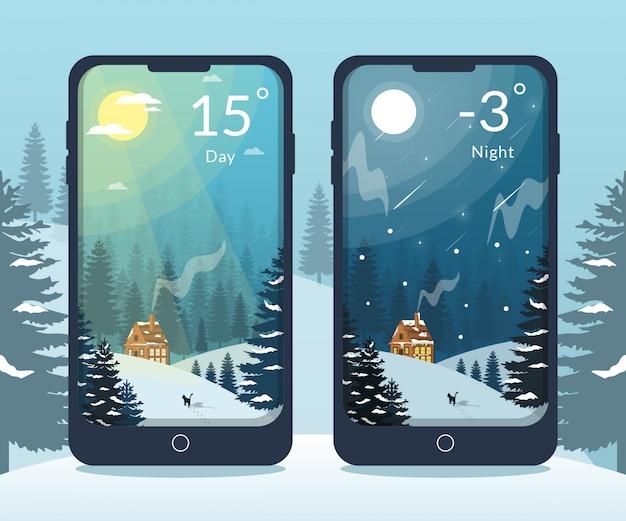 Ilustração de casa na floresta de neve dia e noite para aplicativo móvel meteorológico
