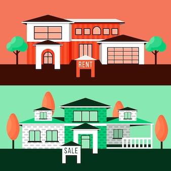 Ilustração de casa para venda / aluguel