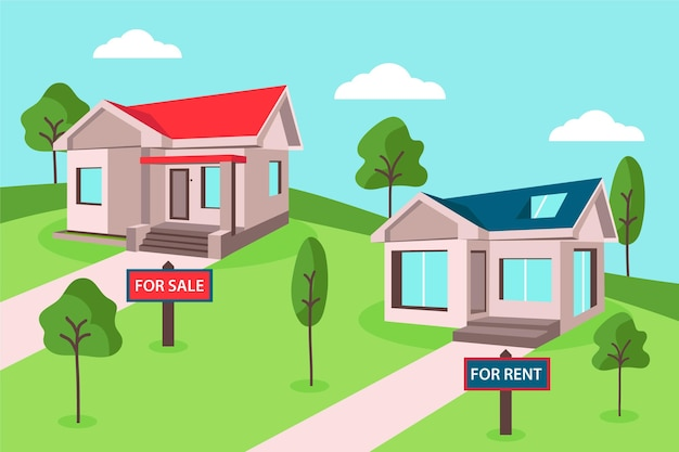 Ilustração de casa para venda ou aluguel com árvores e nuvens