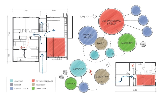 Ilustração, de, casa, planejando