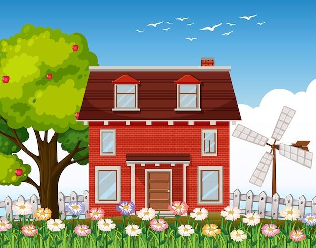 Ilustração de casa rural da natureza