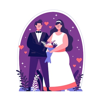 Ilustração de casais de casamento