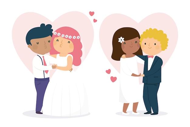 Ilustração de casais fofo casamento