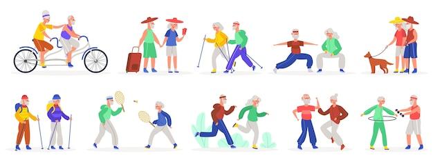 Ilustração de casais idosos ativos