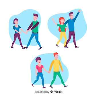Ilustração de casais românticos caminhando juntos