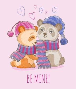 Ilustração de casal amoroso animal fofo