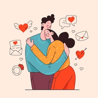 Ilustração de casal apaixonado se abraçando
