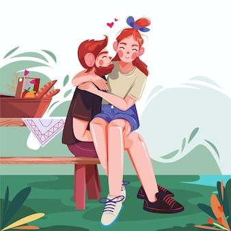 Ilustração de casal apaixonado