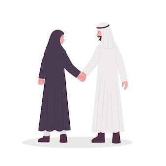 Ilustração de casal árabe caminhando juntos