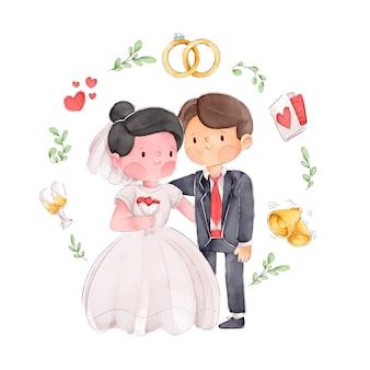 Ilustração de casal casamento aquarela com moldura