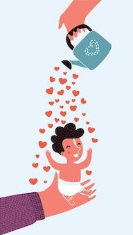 Ilustração de casal com bebê, conceito de amor e carinho na maternidade