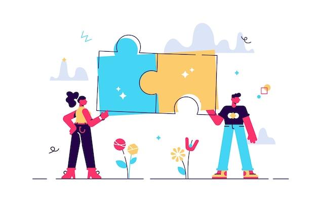 Ilustração de casal com peças de quebra-cabeça