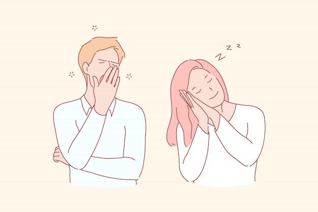 Ilustração de casal com sono
