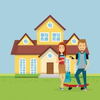 Ilustração de casal de amantes longe de casa