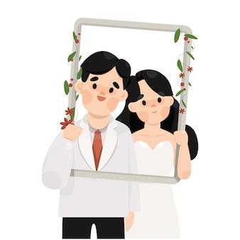 Ilustração de casal de casamento romântico