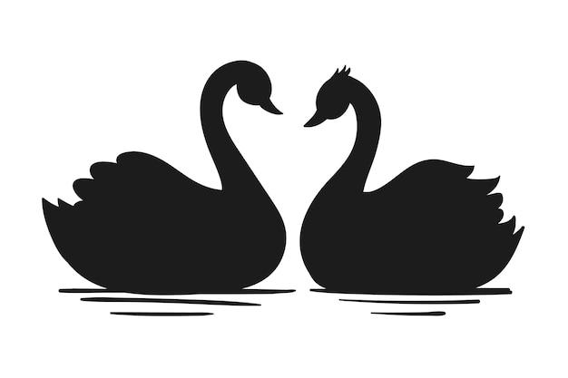 Ilustração de casal de cisne