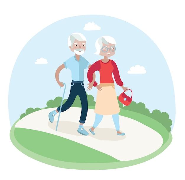 Ilustração de casal de idosos caminhando no parque