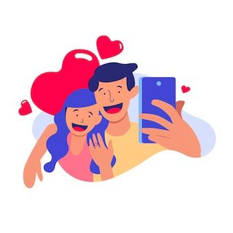 Ilustração de casal de noivos tomando uma selfie