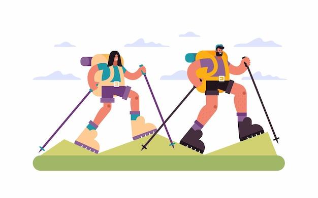 Ilustração de casal de viajantes com bastões e mochilas caminhando em terreno montanhoso contra céu nublado durante uma viagem pelo campo