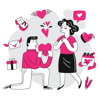 Ilustração de casal desenhada à mão