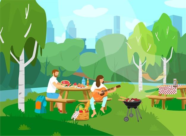 Ilustração de casal fazendo piquenique no parque. estilo de desenho animado.