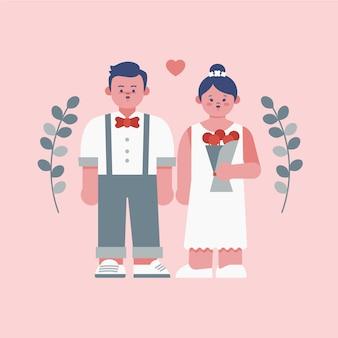 Ilustração de casal fofo casamento