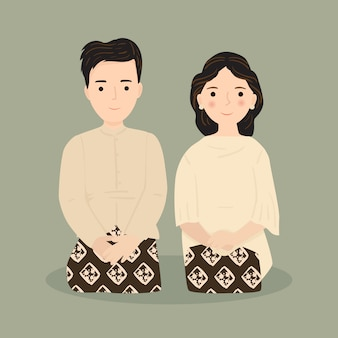 Ilustração de casal fofo para convite de casamento