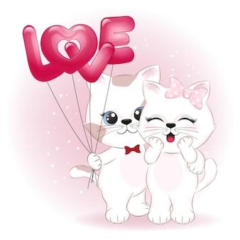 Ilustração de casal gato e balões de coração