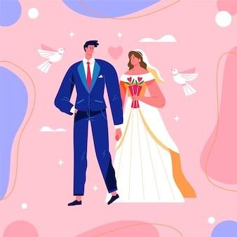 Ilustração de casal lindo casamento