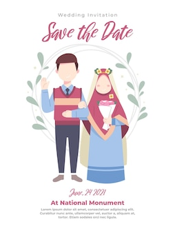 Ilustração de casal muçulmano para convite de casamento em roupas azuis
