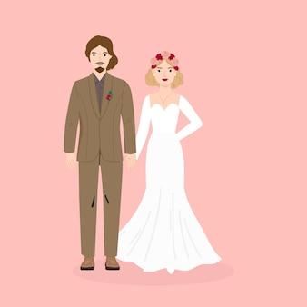 Ilustração de casal noiva e noivo para casamento