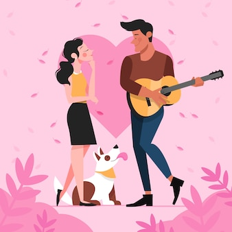 Ilustração de casal romântico