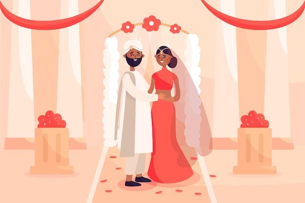 Ilustração de casal se casar