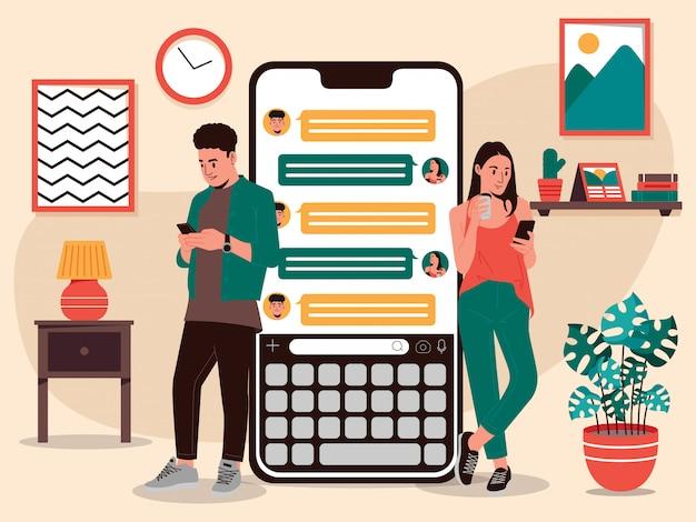 Ilustração de casal usando aplicativos de bate-papo
