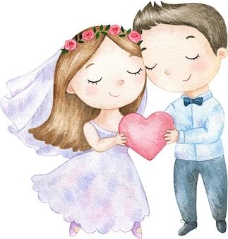 Ilustração de casamento festivo em aquarela casal noivos segurando um coração