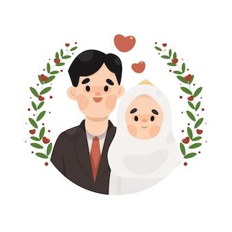 Ilustração de casamento muçulmano de casal